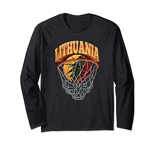 Lithuania Strong Basketball Skeleton Net Long Sleeve T-Shirt