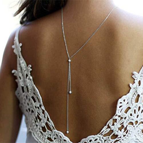 TseenYi - Collana lunga in argento con ciondolo a forma di goccia sul retro della perla per donne e ragazze (argento)