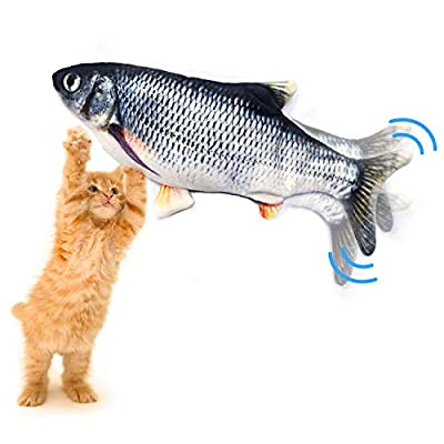 Autoau Cat fish Toys, Electric Flopping Fish for Cat Dog Teeth Grinding Chew Toys Simulation Fish Funny Interactive Pets Pillow Bite Kick Move Wag Cat Toys (carp)