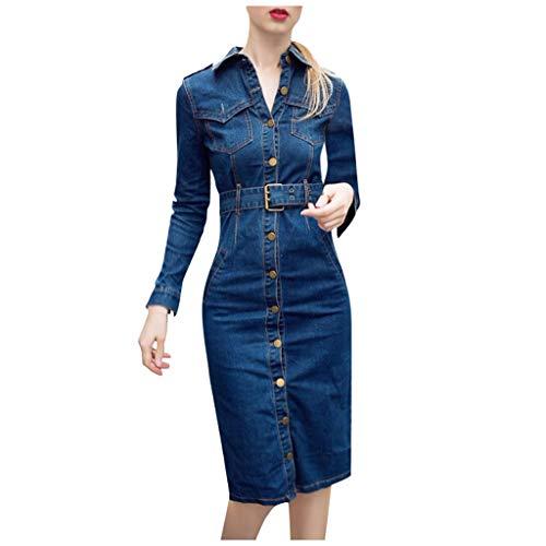 Womens Denim Dress Long Sleeve Full Front Button Casual Dress Turn-Down Collor High Waist Dress with Denim Belt