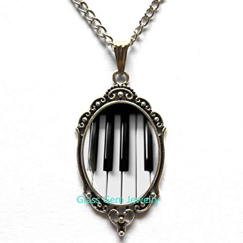 Klavier-Halskette, klassische Musik-Geschenk, Musik-Geschenk, Klaviertastatur-Anhänger, schwarz und weiß, Halskette Q0087