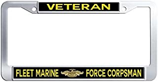 JiuzFrames Fleet Marine Force Corpsman Veteran License Plate Frame, Waterproof Stainless Steel Metal License Frame car Holder with Screw Caps