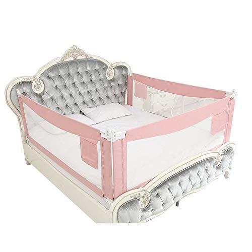 QIANDA-Bettgitter Bettschutzgitter Bettwächter, Faltbar Kinderbettgestell, for Baby, Kinder Kinderbettgitter/Baby-Bettgitter - 3 Stück (Color : Pink, Size : 1.8m+1.5m+1.8m)