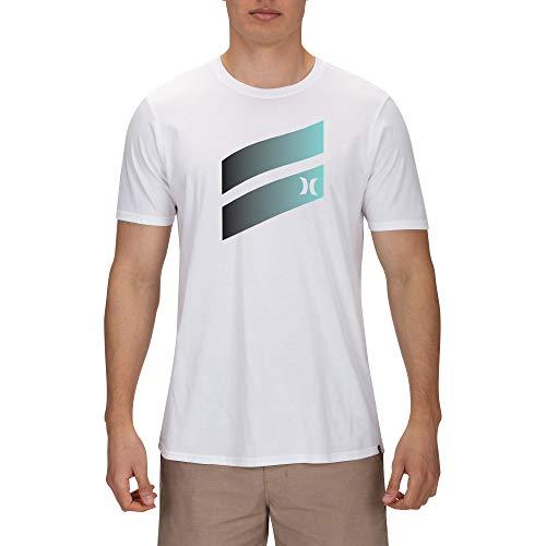 Hurley Herren T-Shirt Icon Slash Gradient S/Tee, White, M, AJ1782