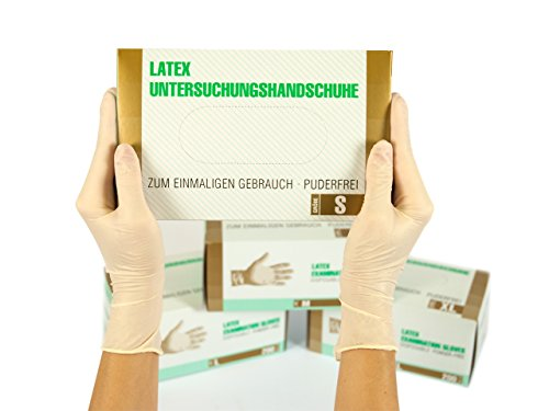 Latexhandschuhe 200 Stück Box (S, Weiß) Einweghandschuhe, Einmalhandschuhe, Untersuchungshandschuhe, Latex Handschuhe, puderfrei, unsteril, disposible gloves