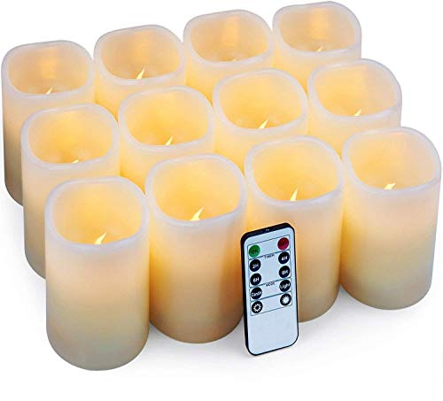 Hausware Flameless Candle LED Candle Set of 12 (D:3 X H:4) Battery Operated Flickering Bulb with Remote & Timer,Ivory,3x4 Set of 12