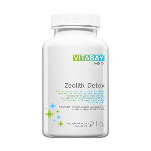 Vitabay Zeolith Detox 120 g • Ultrafeines Pulver • 95% Klinoptilolith • Medizinprodukt zur Entgiftung