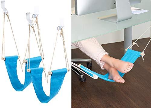 PEARL Fußstütze Schreibtisch: 2er-Set Fuß-Hängematten mit Echtholz-Stäben, zum Einhängen, 60 cm (Fuß-Hängematte für Schreibtisch)