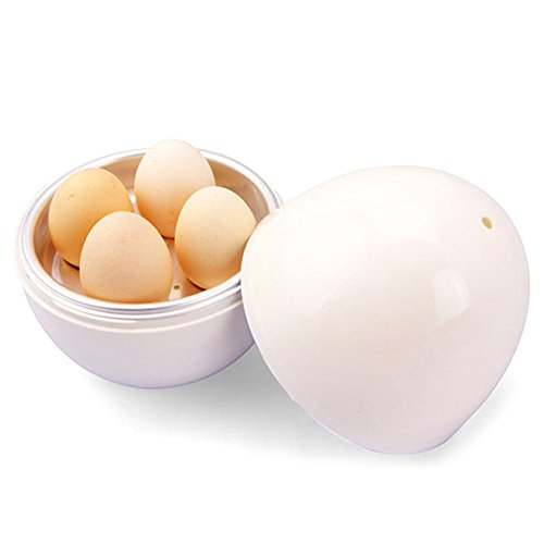 GEZICHTA microonde uova caldaia, Premium bianco a forma di uovo microonde uovo caldaia cucina forniture, per 4uova