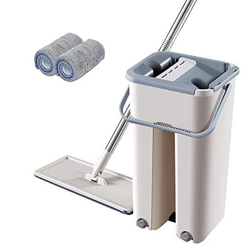 Madmoon Flach-Mopp und 2 in 1 Wischmopp und Eimer mit 2 Wischmopp-Pads zum einfachen Auswringen Reinigung für alle Arten von Böden,Fliesen, Parkett, Linoleum, Laminat (B)