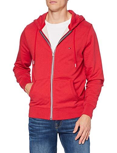 Tommy Hilfiger Herren Core Cotton Zip Hoodie Pullover, Primary Red Heather, XL