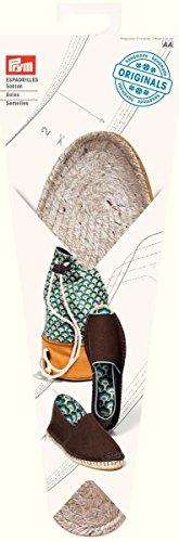 Prym Espadrilles-Sohlen Größe 38 Schuhsohle, Jute/Gummi, Natur, 26x10x2 cm, 2-Einheiten