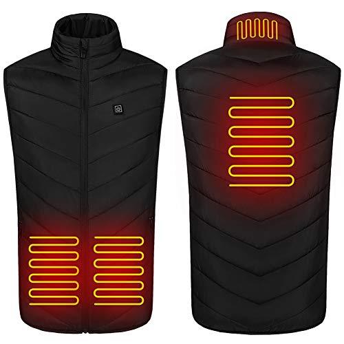 SHINEFUTURE Herren Elektrische Beheizte Weste,Elektrische Beheizte Jacke USB-Lade Heizweste Beheizte Warme Jacke mit Einstellbare Temperatur Für Outdoor-Reiten Skifischen (M)