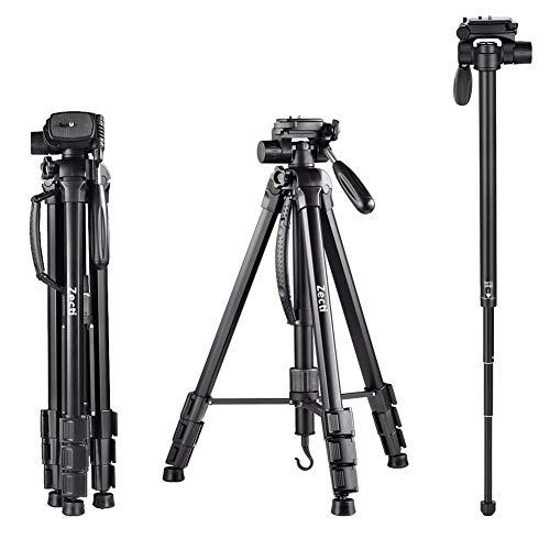 Kamera Stativ, Zecti 170cm/67inches Aluminiumlegierung Stativ Kompakt Leichtes Stativ für Smartphone DSLR SLR Canon Nikon Sony Olympus mit Handy Halterung Tragetasche
