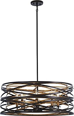 Minka Lavery Unique Pendant Ceiling Lighting 4678-111 Vortic Flow, 8-Light 480 Watts, Dark Bronze