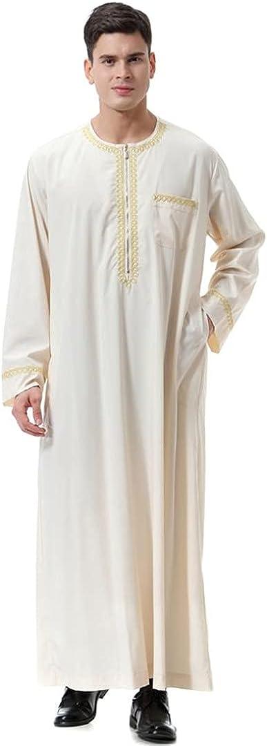 Men Black Islamic Caftan Homme Zipper Arabic Pakistan Robe