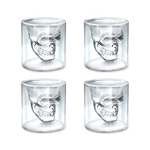 zanasta (4 Stück) Totenkopf Glas (25ml) Schädel Shotglas für Whisky Vodka oder Schnaps klein