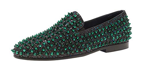 JUMP NEWYORK Men's Luxor Green Uniform Length Spike and Glitter Smoking Slipper US Size 10
