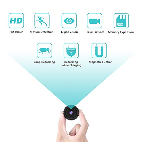 Mini Kamera Bewegungserkennung, Full HD 1080P Magnetic Spycam mit Bewegungserkennung und Nachtsicht, Die tragbare Überwachungskamera Für den Lnnen- und Außenbereich Unterstützt die 128G-Erweiterung