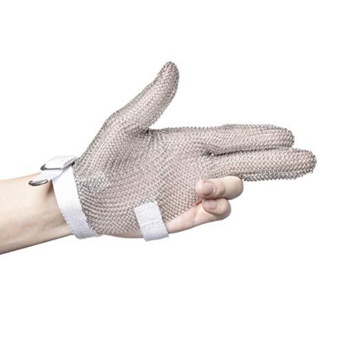 Schnittfeste Handschuhe-XHZ 1 3-Finger Edelstahl Schutzhandschuhe, Metallhandschuhe, Kleidung Schneiden Handschuhe, Schlachten, Schweißen und Töten Fisch. (Size : Large)