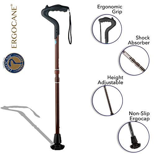 Ergocane 2G by Ergoactives As Seen On TV. Spring-Assisted Shock Absorber Fully-Adjustable Ergonomic Cane, Newly Released, Equipped with Stand Alone High Performance Rubber Tip (Maroon Design)