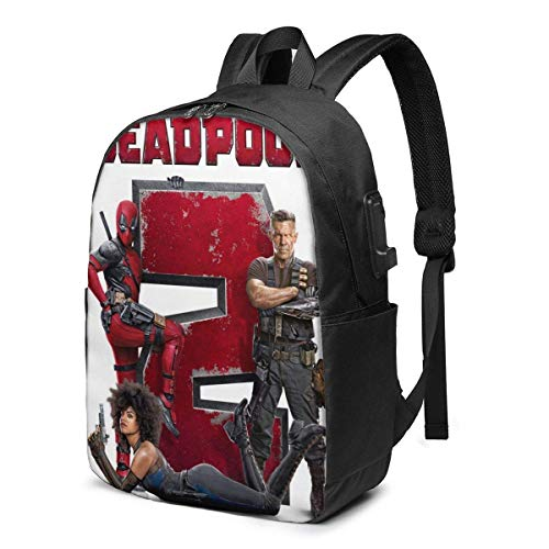 AOOEDM USB Backpack 17 in Dead-Pool 2 USB Backpack 17-Inch Laptop Backpack Firm Bottom Men and Women Business Travel Bag