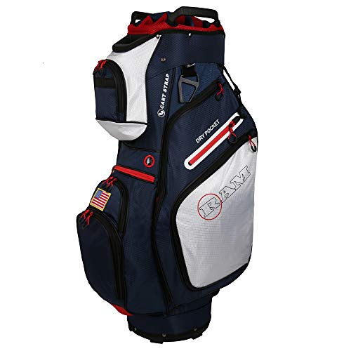 Ram Golf FX Deluxe Golf Cart Bag with 14 Way Full Length Dividers (USA Flag)