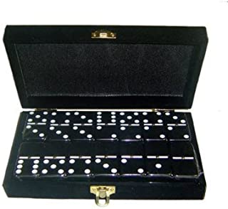 Marion Domino Double 6 Black Jumbo Tournament Professional Size w/Spinners in Elegant Black Velvet Box.