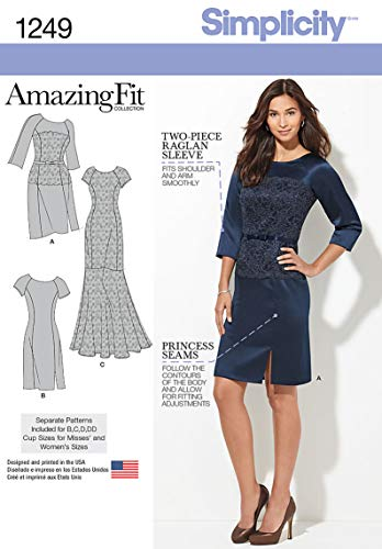 Simplicity Amazing Fit Schnittmuster 1249 Damenkleid in 2 Längen mit einzelnen Mustern, Größen 38-40