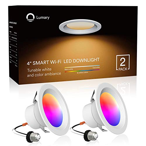 Smart LED Recessed Lighting 4 Inch, Lumary Wi-Fi LED Can Lights Dimmable 16 Million Colors LED Downlight Compatible with Alexa & Google Assistant 9W 2700K-6000K (2 Pack)