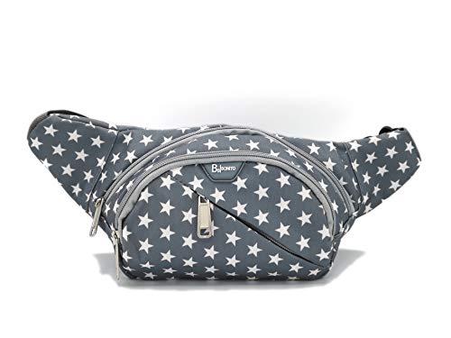 BB Bonito Bauchtasche für Frauen, wasserdicht und stylisch | Hochwertiger Qualitäts-Reißverschluss | Umhängetasche grau für Damen | große Gürteltasche mit Sternen | Brusttasche beim Sport oder Joggen