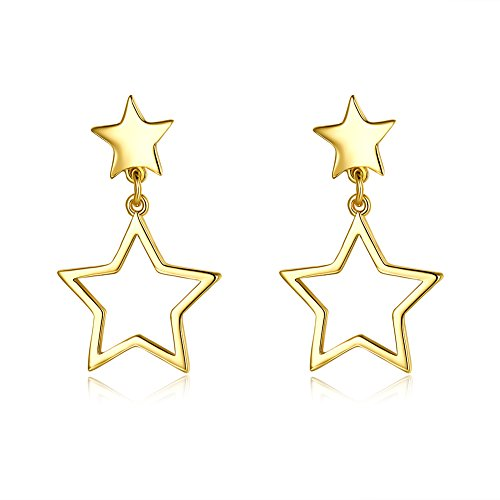 14K Gold Star Dangle Drop Studs Earrings For Women Teen Girls Cute Dainty Dangling For Senstitive Ears