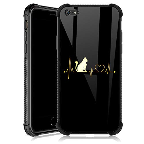 iPhone 6s Case,Cat Heartbeat iPhone 6 Cases for Girls,Tempered Glass Back Cover Anti Scratch Reinforced Corners Soft TPU Bumper Shockproof Case for iPhone 6/6s Golden Love Fashion