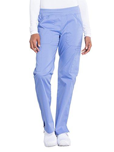 Cherokee Workwear Professionals Mid Rise Straight Leg Pull-on Cargo Scrub Pant, XL, Ciel Blue