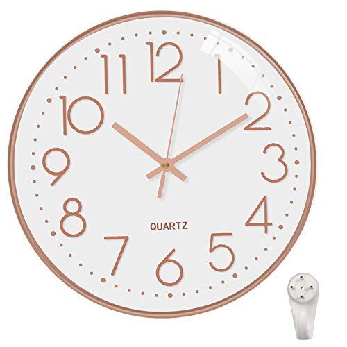 Relógio de parede Ocharzy 30 cm, sem tique-taque, silencioso, quartzo, decorativo, funciona com bateria, relógios redondos, casa, cozinha, escritório, escola, White- Rose Gold