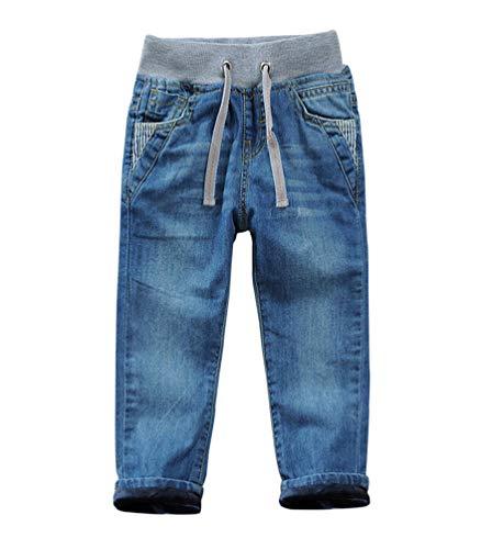 YOOY Winter Jeanshose Jungen Gefütterte Thermohose Kinder Jeans mit Gummizug, Blau mit Futter, 122-128 / Größe 130