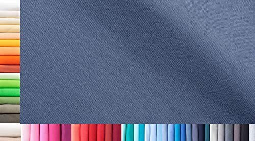 1buy3 Tissu de côtes Jersey XXL au mètre|Double : 75cm de Largeur|Simple : 150cm de Largeur|Couleur : 41 Bleu Distant|0,75m de Longueur|96% Coton, 4% élasthanne|Plus de 50 Coloris au Choix|Jersey