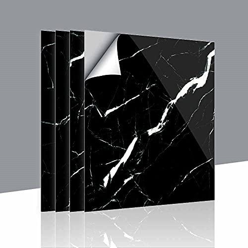 Hiseng 4 Piezas Adhesivos Decorativos para Azulejos Pegatinas para Baldosas del Baño/Cocina Estilo de Mármol 3D Resistente al Agua Pegatina de Pared (Mármol Negro,30x30cm)