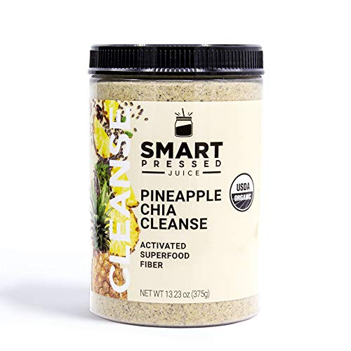 Smart Pressed Juice Pineapple Chia Cleanse | Prebiotic Superfood Plant Based Fiber with Vegan Probiotics & Enzymes | Keto-friendly Detox | Constipation Relief | Made in the USA | 30 Servings