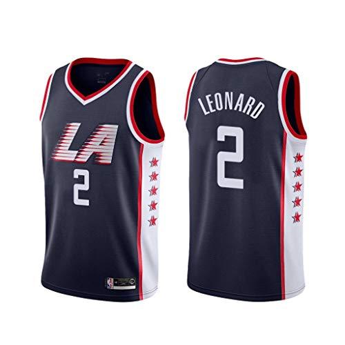 canottejerseyNBA Kawhi Leonard - Los Angeles Clippers #2, Basket Jersey Maglia Canotta, Swingman Ricamata, Abbigliamento Sportivo (Blu City Edition '19, XL)