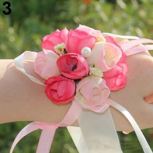 weichuang Pulsera de flores para dama de honor y hermanas, flores artificiales de novia, para bodas, bailes de graduación, decoración de bodas (color: rosa)