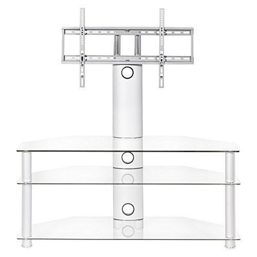 Clear Glass Cantilever Tv stand for 32 inch to 65 inch LCD LED Plasma flat screen tv's