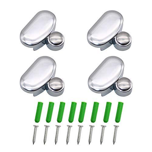 WJUAN 4 Clips de Espejo Ovalados de 3-5 mm, Abrazadera de Vidrio de Aleación de Zinc, Soportes de Estante de Vidrio, para el Hogar Oficina Barbero Banco de Trabajo Baño (Plateado)
