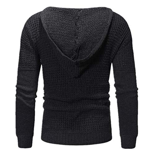 MENHG Men's Casual Pullover Hoodies Long Sleeve Hooded Sweatshirts Funnel Neck Plaid Jacquard Hoody Top Thick Knitted Sports Sweater Men Solid Colour Hipster Warm Fleece Jumper Blouse Knitwear Outwear