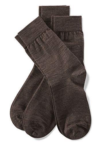 Weissbach Socken mit handgekettelter Spitze Braun