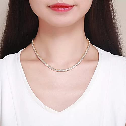 N/A Regalo de la joyería del Colgante del Collar de la Mujer Collar Gargantilla Corto con Cadenaenlazada de Color Oro Amarillopara Mujeres y niñas joyería