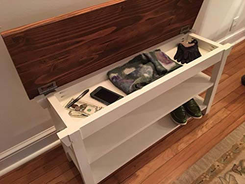 Hallway Entryway Foyer Storage Bench With Two Shoe Shelves in Your Choice of Color and Size 24 Inches to 46 Inches