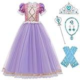 MAROX Niña Disfraz Princesa Rapunzel Tul Vestido de Princesa Elegante Fancy Dress Traje Parte con Ac...