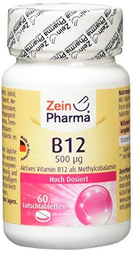 ZeinPharma Vitamin B12 Cobalamin 500 Microgram 60 Lutschtabletten (2 Monate Vorrat) beste Aufnahme über die Mundschleimhaut Hergestellt in Deutschland, 44 g