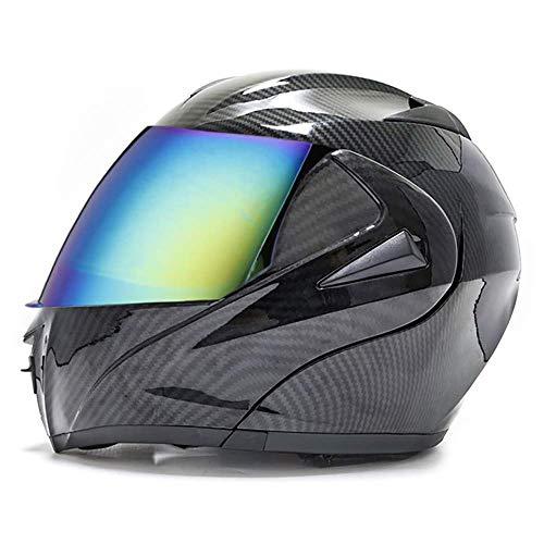 XYXZ Cascos Integrales De Motocicleta Casco Motocicleta Cascos Integrales Modulares para Hombres Y Mujeres, Cascos Integrales con Doble Visera para Todas Las Estaciones, para Motocicletas, C